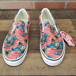 77da0c431ad Vans Shoes - Vans Slip-On Dystopia Red Blue White Skate Shoes
